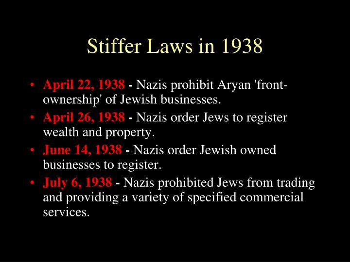 Stiffer Laws in 1938