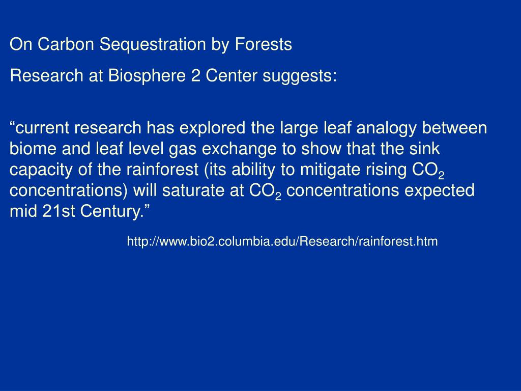 On Carbon Sequestration by Forests