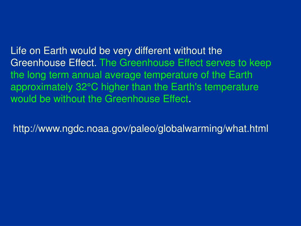 Life on Earth would be very different without the Greenhouse Effect.
