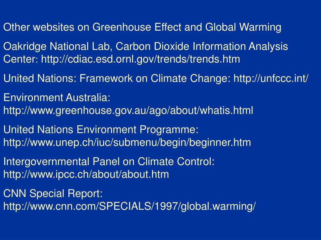 Other websites on Greenhouse Effect and Global Warming
