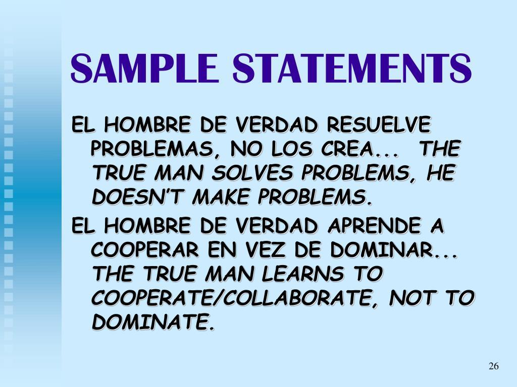 SAMPLE STATEMENTS