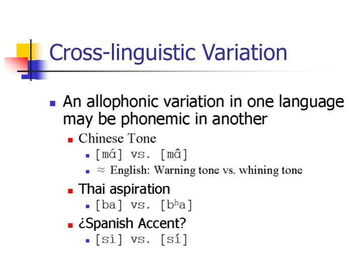 Cross-linguistic Variation