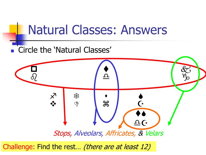 Natural Classes: Answers