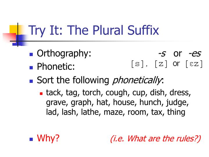 Try It: The Plural Suffix