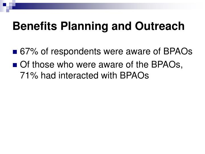 Benefits Planning and Outreach