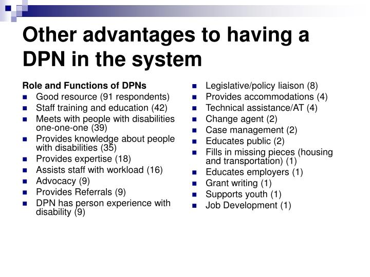 Role and Functions of DPNs