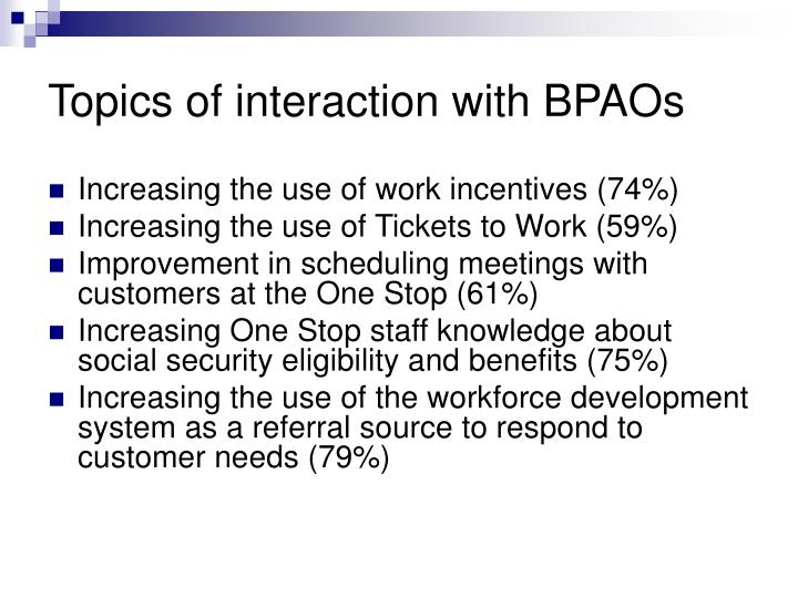 Topics of interaction with BPAOs