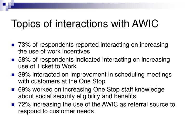 Topics of interactions with AWIC