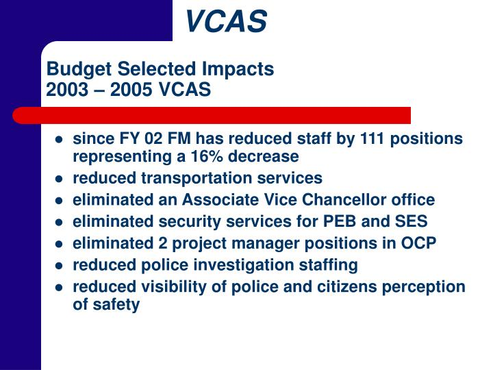 Budget Selected Impacts