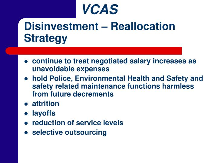 Disinvestment – Reallocation Strategy