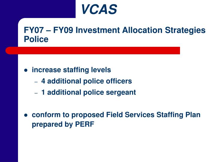 FY07 – FY09 Investment Allocation Strategies