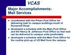 major accomplishments mail services