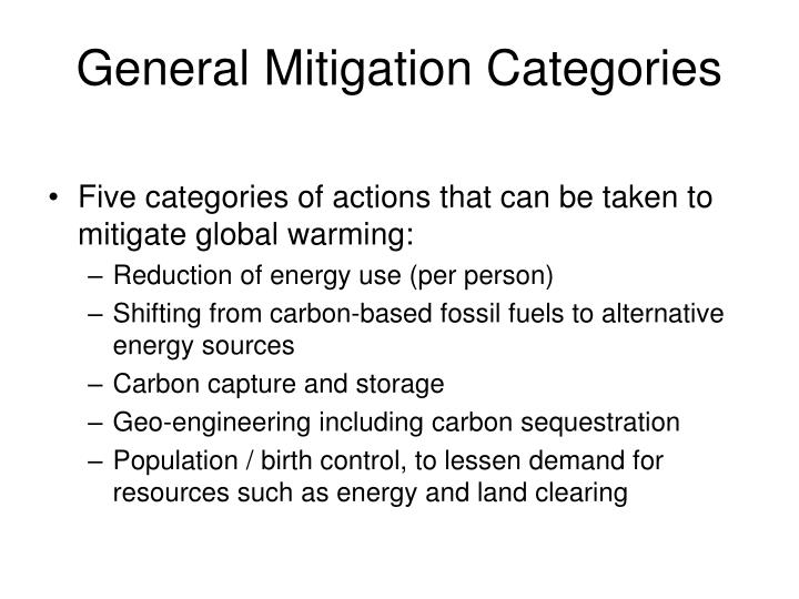 General Mitigation Categories