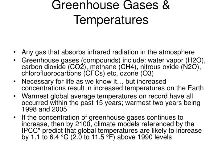 Greenhouse Gases & Temperatures