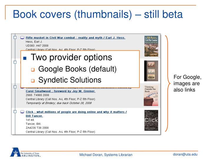 Book covers (thumbnails) – still beta
