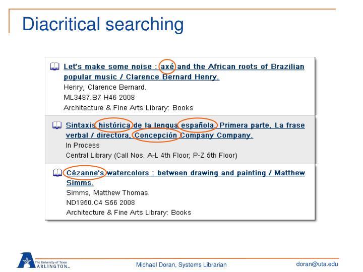 Diacritical searching