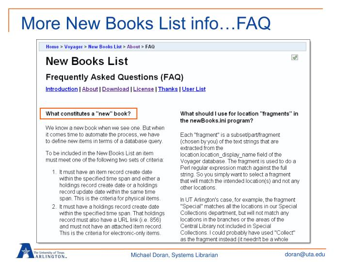 More New Books List info…FAQ