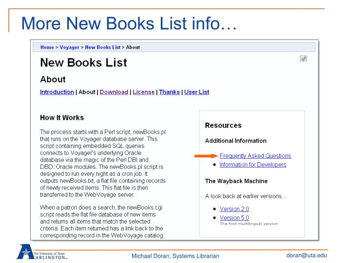 More New Books List info…