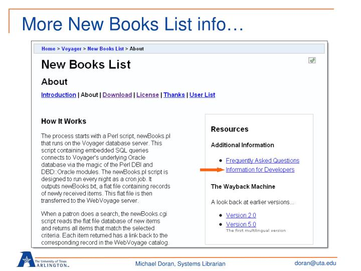 More New Books List info…