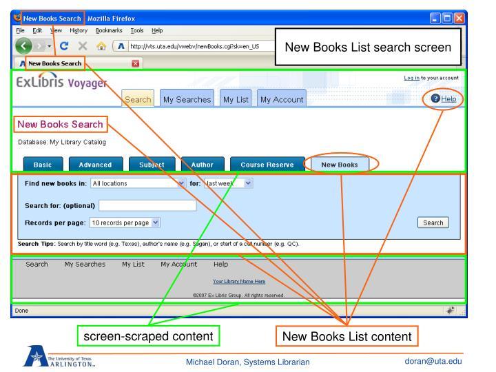 New Books List search screen