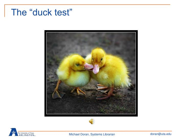 "The ""duck test"""