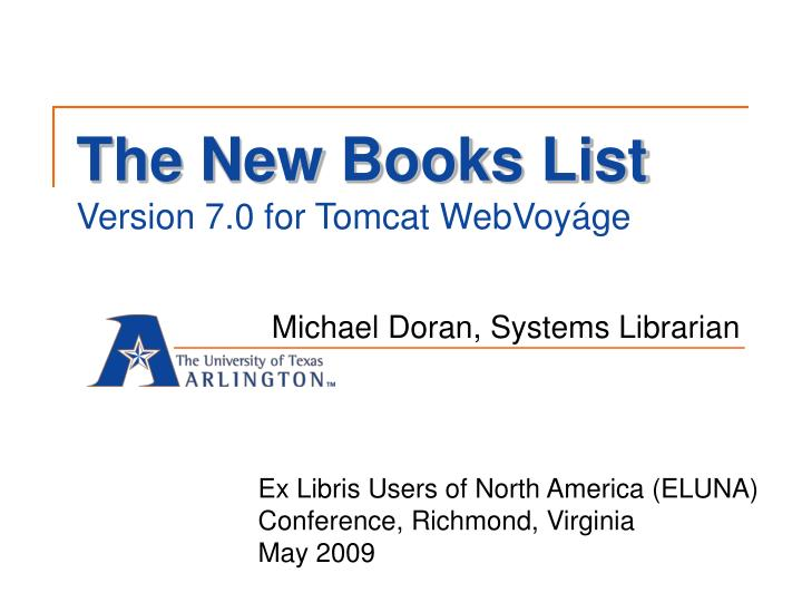 The new books list version 7 0 for tomcat webvoy ge