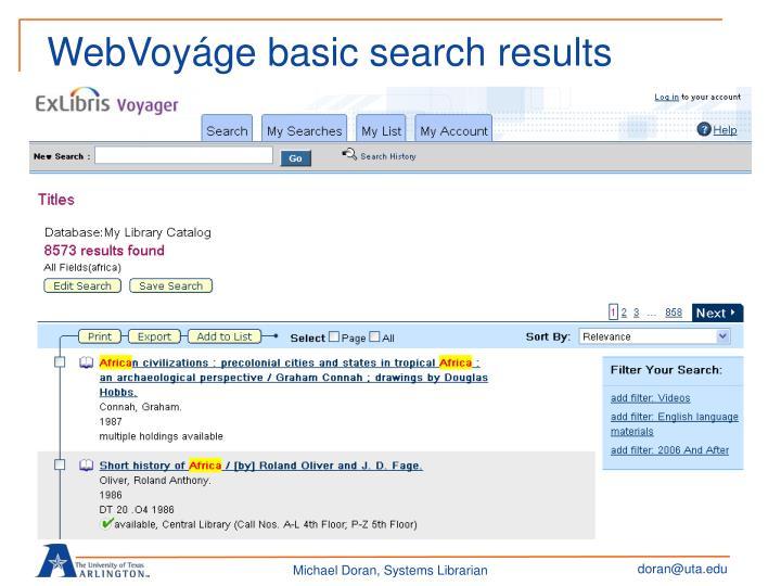 WebVoyáge basic search results
