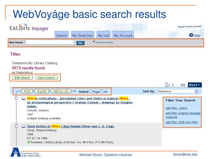 WebVoyáge basic search results
