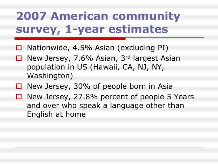 2007 American community survey, 1-year estimates
