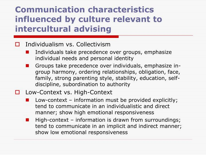Communication characteristics influenced by culture relevant to intercultural advising