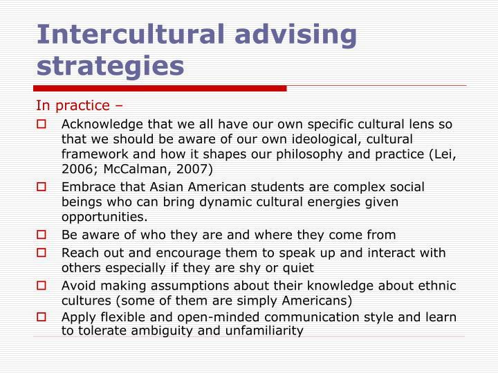 Intercultural advising strategies