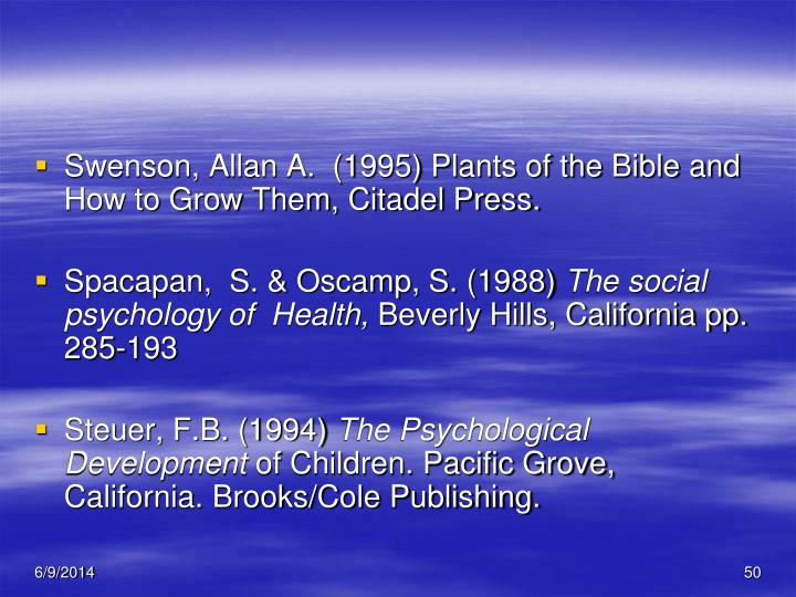 Swenson, Allan A.  (1995) Plants of the Bible and How to Grow Them, Citadel Press.