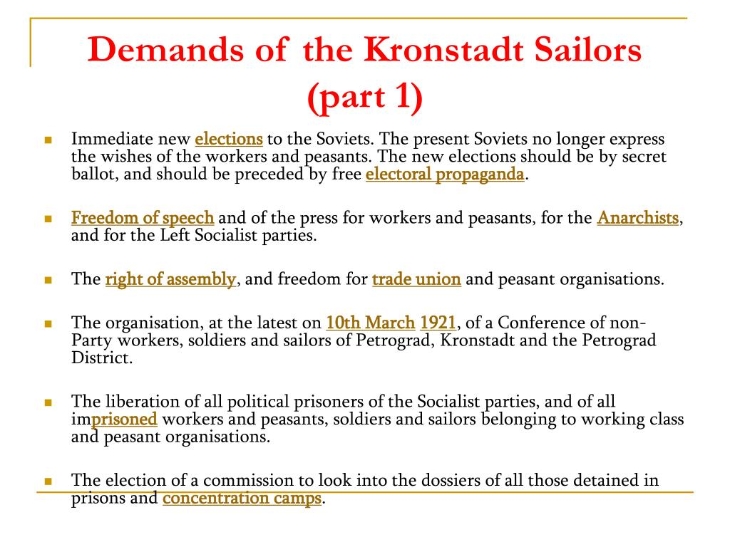 Demands of the Kronstadt Sailors