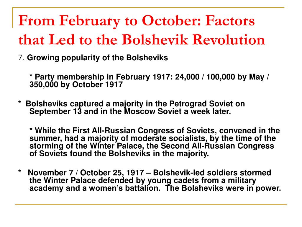 From February to October: Factors that Led to the Bolshevik Revolution