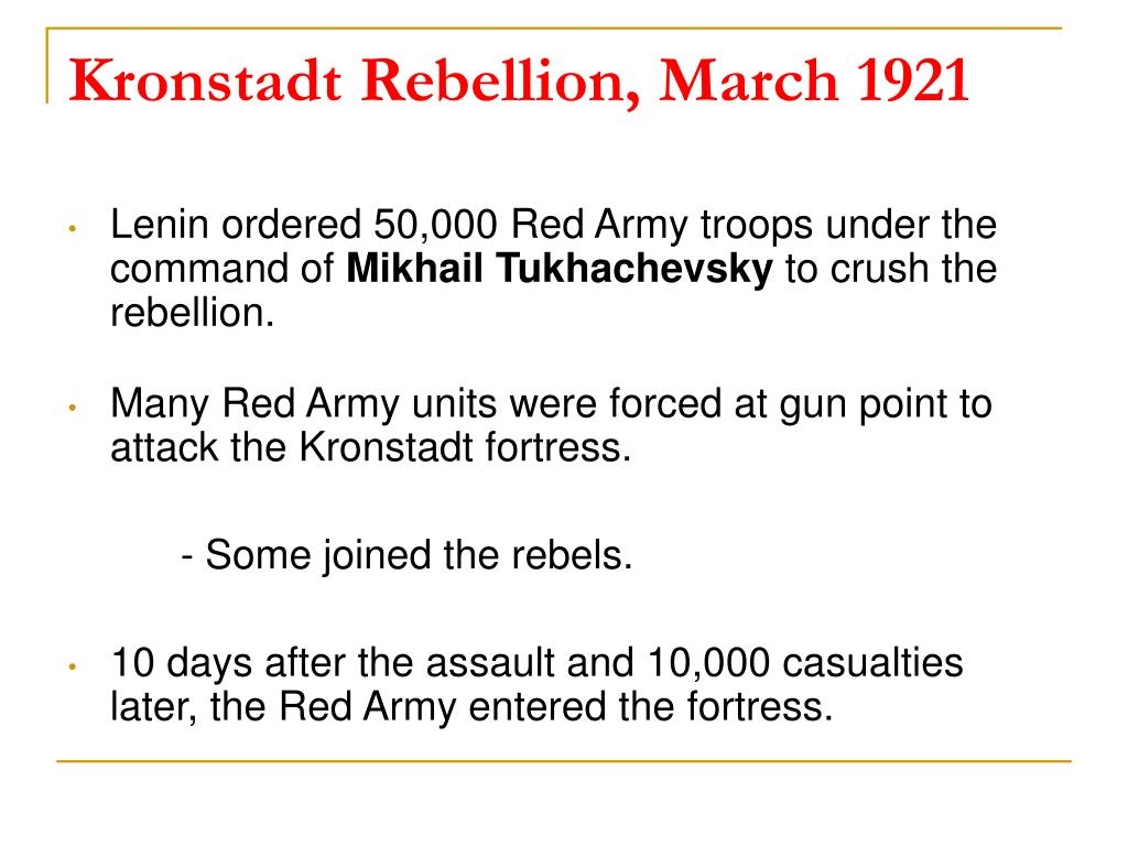 Kronstadt Rebellion, March 1921