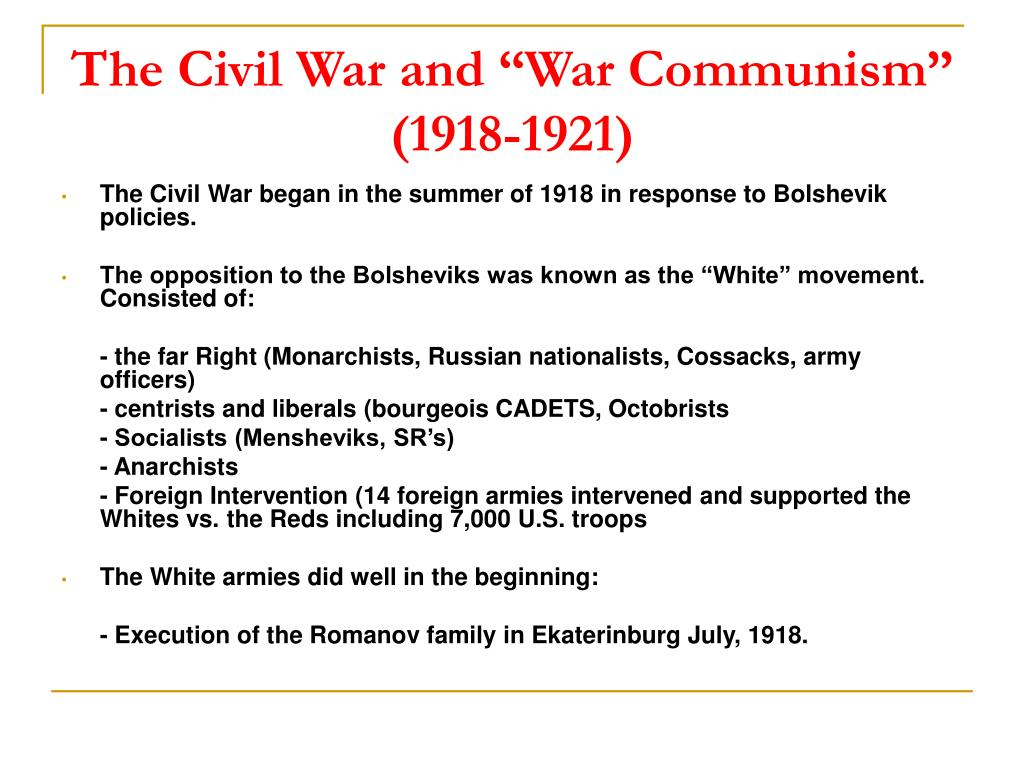"The Civil War and ""War Communism"" (1918-1921)"