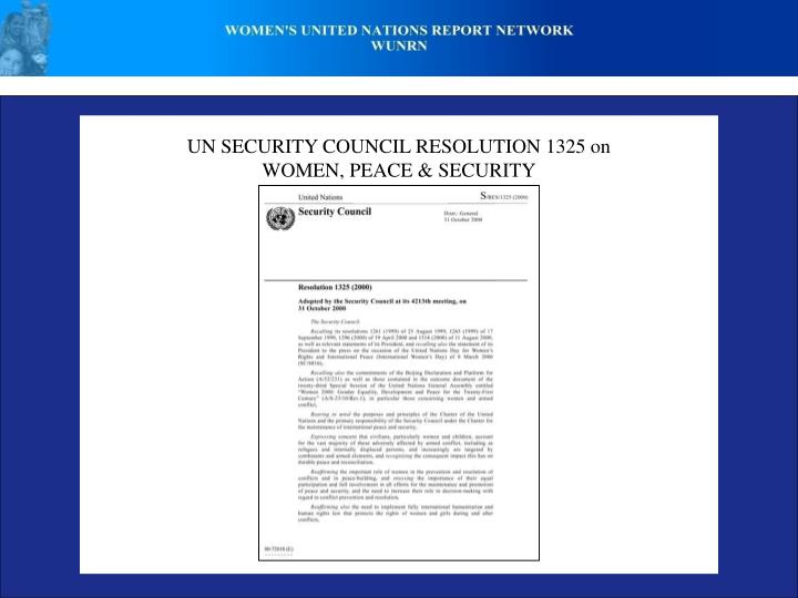 UN SECURITY COUNCIL RESOLUTION 1325 on