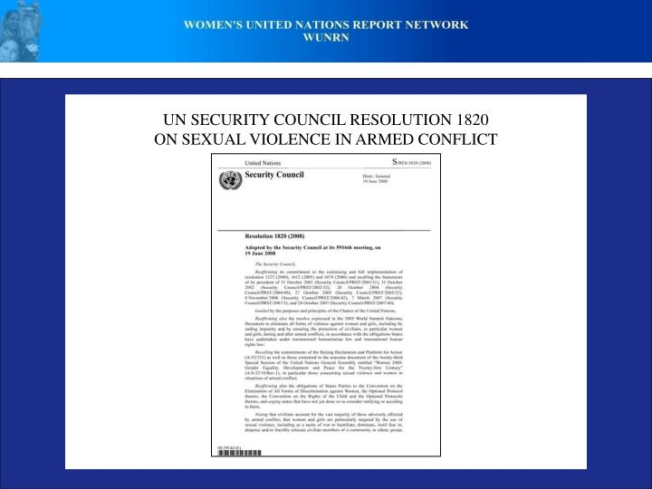 UN SECURITY COUNCIL RESOLUTION 1820