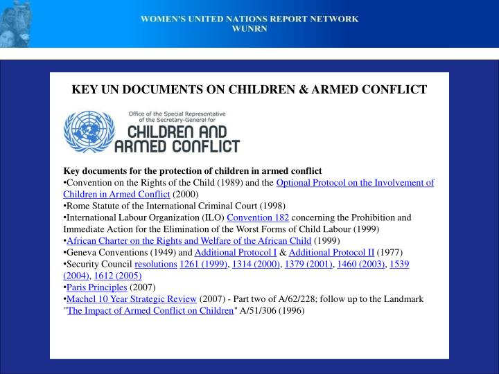 KEY UN DOCUMENTS ON CHILDREN & ARMED CONFLICT