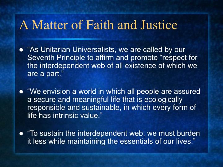 A Matter of Faith and Justice