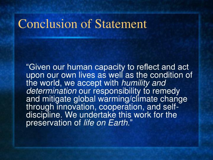 Conclusion of Statement