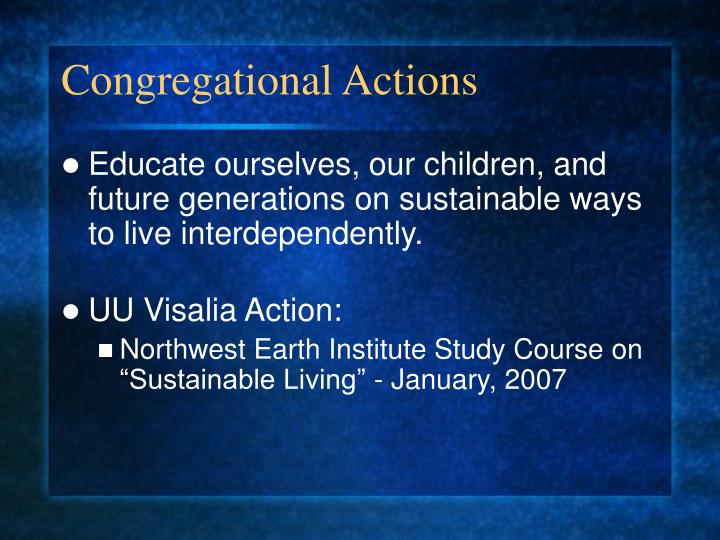 Congregational Actions