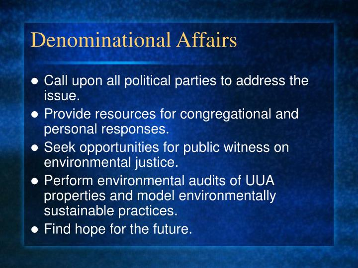 Denominational Affairs