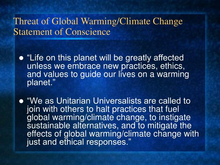 Threat of Global Warming/Climate Change