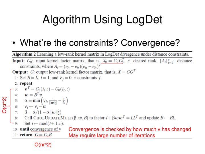 Algorithm Using LogDet