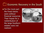 economic recovery in the south