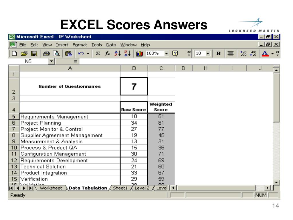 EXCEL Scores Answers