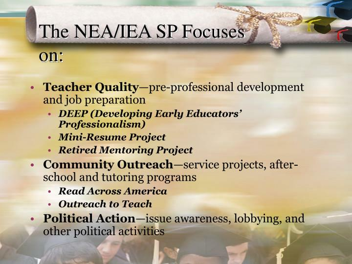 The NEA/IEA SP Focuses on: