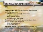 the nea iea sp focuses on