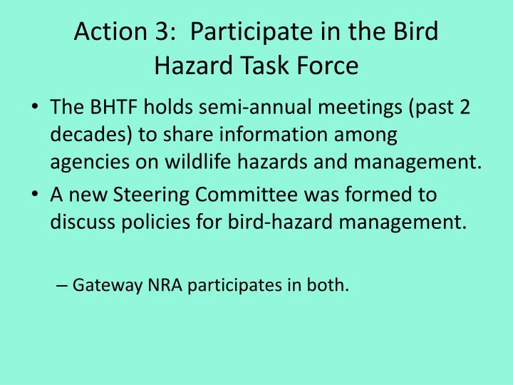 Action 3:  Participate in the Bird Hazard Task Force